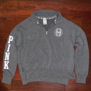 pink xs gray quarter-zip sweatshirt
